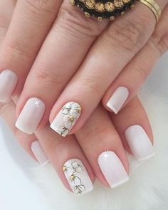 27 Modelos de Unhas com esmalte Branco Nail Designs Spring, Cute Nail Designs, Acrylic Nail Art, Gel Nail Art, Manicure E Pedicure, Pretty Nail Art, Prom Nails, French Nails, Simple Nails