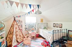 Boys bedroom - with wigwam and bunting