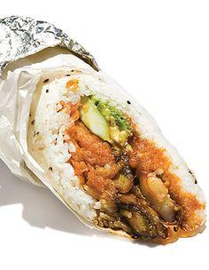 Sushi Burrito  A sushi burrito? This food truck megaroll makes a big-bite lunch