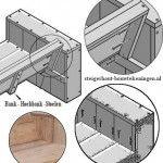 Montage van de rugleuning voor een houten hoekbank en loungebanken.