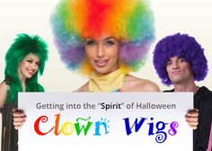 A clown wig without a rainbow colored afro makes no sense, your clown costume will not look right! Professional clown wigs are a vital part of creating the illusion that a clown presents. A clown wig is bright, funny, exaggerated, and changes a person's look so completely that he or she can step fully into their clown character.