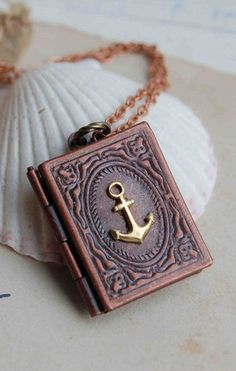 Fairytale book locket style pinterest fairytale book books nautical anchor book locket necklace sailor aloadofball Images