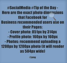 Regarding the dimensions for the new FB Pages facelift, here is a quick reminder #tip.