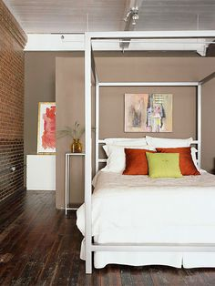 Great floor.  Also love the plank ceiling in white. That, and the white bed contrast nicely with the dark floor.