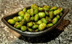 Roasted Edamame: Use olive oil-flavored nonstick cooking spray or use olive oil (= 2/3 tsp. healthy oil per serving of 1/3 recipe) (For SFT count oil ONLY if you use > 2 tsp. healthy oil per day.)