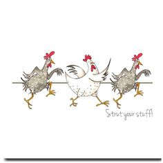 Strut Your Stuff Greeting Card - Funny Chicken Birthday Card, Blank Inside - Diy Kunst Chicken Painting, Chicken Art, Chicken Signs, Watercolor Artwork, Watercolor Cards, Chicken Humor, Funny Chicken, Chickens And Roosters, Dibujos Cute