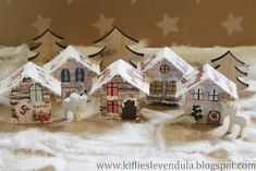 Winter village made of match boxes Winter Christmas, Gingerbread, Christmas Decorations, Match Boxes, November, November Born, Ginger Beard, Christmas Decor, Ornaments