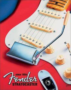 Fender : Plaque décorative rétro en métal représentant une guitare Fender. Idéal pour créer une ambiance vintage dans votre intérieur, dans une salle de musique, un karaoké ou encore un bar.
