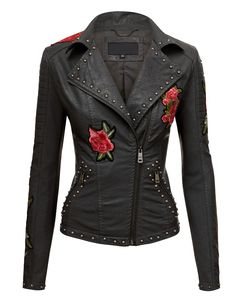 Made By Johnny MBJ Womens Floral Embroidered Faux Leather Motorcycle Biker Edgy Outfits, Cool Outfits, Fashion Outfits, Jackets Fashion, Punk Fashion, Lolita Fashion, Beautiful Outfits, Biker Outfits, Biker Fashion
