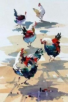 "Watercolor painting techniques of the ""California School"" of Watercolor Watercolor Bird, Watercolor Animals, Watercolor Paintings, Watercolors, Pastel Watercolor, Watercolor Artists, Abstract Paintings, Chicken Painting, Chicken Art"