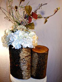 Rustic Birch Log Centerpiece by marys4everflowers on Etsy, $120.00