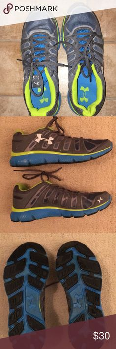 Under Armour Running Shoes Like new Under Armour Gray Micro G Running Shoes. Size 7.5-8 women's. These are labeled as size 7 Youth which my 11 yo son got as a gift but didn't like thought 'too girly'. I always take women's size 7 & here are a tad too big but I could still wear. They're a 7.5 maybe a snug 8. They have royal blue base & tread with little wear with lime green stripe at base. Super super cute! Goes with everything. Under Armour Shoes Athletic Shoes