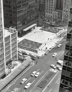 """July 8, 1960. """"New York City views. Seagram Building plaza, from 400 Park Avenue roof."""" Large-format negative by Gottscho-Schleisner.  Shorpy Historic Picture Archive"""