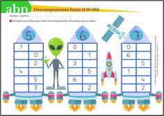 Método ABN. Descomponemos números hasta el 10 con el extraterrestre Miko (III) Sistema Solar, 1st Grade Math, Kindergarten Math, Math For Kids, Games For Kids, Ludo, I Love Math, Math Boards, Dora