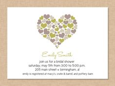Simple Hearts Bridal Shower Invite digital by graceloveDesigns, $10.00