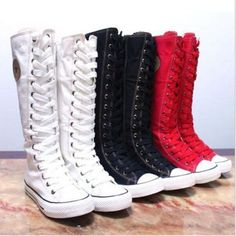 New PUNK EMO Canvas Boots Sneaker Women Girl's Shoes Knee High Lace UP Boots in Clothing, Shoes & Accessories, Women's Shoes, Boots | eBay