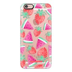 iPhone 6 Plus/6/5/5s/5c Case - Watermelon Strawberry Fruit Summer Food... ($40) ❤ liked on Polyvore featuring accessories, tech accessories and iphone case