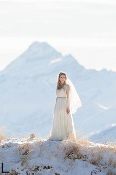 romantic winter wedding bride