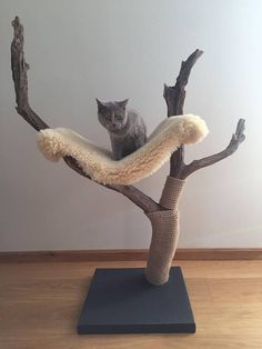 Handmade cat tree with real sheep skin hammock. Made from local driftwood. Very stable. I have been building cat trees for a while now and so far this one is my favourite. Tested and approved by a 7-month-old specialist! Dimensions: Baseplate: 44,5cm x 45,5cm x 4cm Highest point from