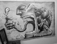 Graphite Art, Graphite Drawings, Cool Art Drawings, Art Sketches, Scary Drawings, Dark Art Illustrations, Illustration Art, Prison Art, Scary Art