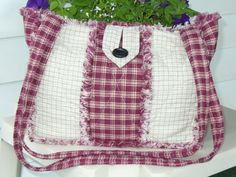 Rag Quilt Purse Cranberry Red Tan Homespun by Ashlawnfarms on Etsy, $38.00