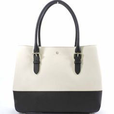 """Kate Spade COVE STREET COLORBLOCK AIREL like new About this item Features cross hatched leather shoulder bag with dividing zipper pocket 11.9""""h x 15""""w x 6.2""""d drop length: 8.1"""" 14-karat light gold plated hardware double slide pockets and interior zipper pocket Product Information porcelain/black Product Dimensions20.1 x 16.3 x 6.1 inches Item Weight3 pounds Shipping Weight3 pounds kate spade Bags Shoulder Bags"""