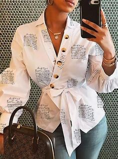 Lantern Sleeve Buttoned Surplice Wrap Printed Blouse Online Discover hottest trend fashion at Trend Fashion, Fashion Prints, Fashion Outfits, Fashion Women, Style Fashion, Fashion Blouses, Formal Fashion, Fashion Today, Cheap Fashion
