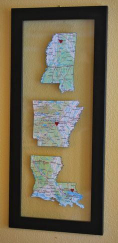 """Places where you've lived"" -- Decorate with Maps - This could take up an entire wall for our family! Great garage idea, maybe."