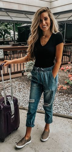 Casual Summer Outfit With Jeans To Update Your Wardrobe; Outfit With Jeans; Spring Outfit Women, Spring Outfits, Casual Outfits, Cute Outfits, Fashion Outfits, Diy Outfits, Fashion Moda, Womens Fashion, Fashion Fashion