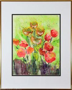 Original Watercolor by Susan Marie Fairclough, Floral 13, Framed 20X16