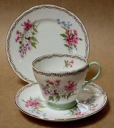 Vintage Shelley Primrose Oleander Trio Cup Saucer Plate