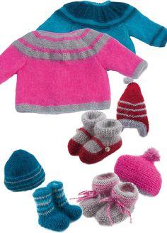 c16a7e1c07b2 Vêtements layette faits avec des pelotes en tons clairs Chaussettes Laine,  Aiguilles, Layette