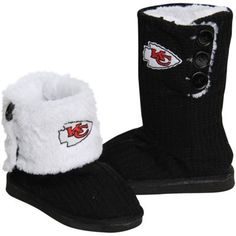 Kansas City Chiefs Ladies Knit High End Button Boot Slippers - Black