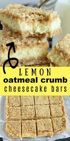 Lemon Cheesecake Bars with Oatmeal Crust Lemon Dessert Recipes, Lemon Recipes, Fun Desserts, Baking Recipes, Delicious Desserts, Healthy Lemon Desserts, Lemon Bars Healthy, Healthy Cream Cheese, Lemon Cream Cheese Bars