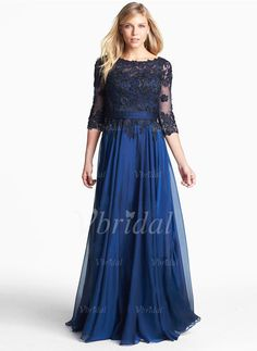 Evening Dresses - $134.04 - A-Line/Princess Scoop Neck Floor-Length Chiffon Lace Evening Dress (0175055793)