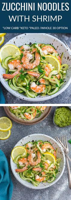 Zucchini noodles with Shrimp makes the perfect light and healthy meal for busy weeknights. Best of all, these low carb and keto-friendly zoodles come together in under 30 minutes with dairy-free options to keep this meal paleo and Whole 30. #zoodles #zucchini #shrimp #lemon #garlic #butter #lowcarb #keto #whole30 #paleo #healthy #zoodles Less