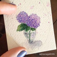 Copyright by Adriana Galindo - Little love, miniature watercolor, flower, Hydrangea / Amor em miniatura, aquarela emoldurada , hortensia / Adriana Galindo - shop: drigalindo1@gmail.com