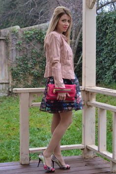 Skater Skirt and Floral Shoes for the Spring season. Love the pink jacket great for so many outfits. Don't be afraid to try different color jackets and shoes.