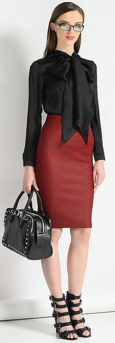 Dressed For Work In Black Bow Blouse And Pencil Skirt