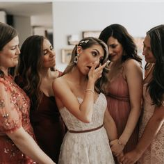 Bridesmaids comfort bride as she cries before wedding day. A beautiful wedding morning in Edmonton, Alberta with Kensie Webster Photography.