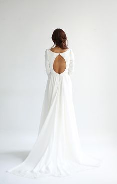 backless long sleeve wedding dress with tear drop opening