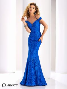 Clarisse Couture Lace Evening Gown 4801. Royal blue prom dress, military ball dress, black tie dress.   Promgirl.net