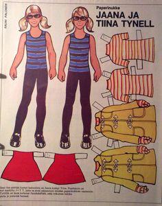 Finnish paper dolls Jaana and Tiina early Mustan kissan tango, tango :) Fabric Doll Pattern, Fabric Dolls, Dress Up Dolls, Vintage Paper Dolls, Triplets, Crafty Craft, Paper Crafts, Retro, Tango