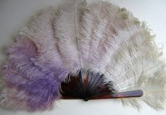 Old Antique c.1930's-1940's Hand Fan with Ostrich Feathers Celluloid