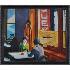 Edward Hopper 'Chop Suey ' Hand Painted Framed Canvas Art