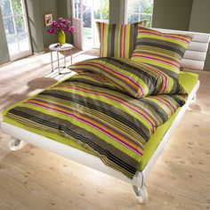 Lime Green Stripes - Cotton Bed Linen Set (Duvet Cover & Pillow Cases) / SoulBedroom Home Textile - quality bedding, duvet covers, pillow cases, fitted sheets, flat sheets Cotton Bedding Sets, Bed Linen Sets, Duvet Bedding Sets, Linen Bedding, Green Duvet Covers, Bed Covers, Duvet Cover Sets, Pillow Covers, Pottery Barn