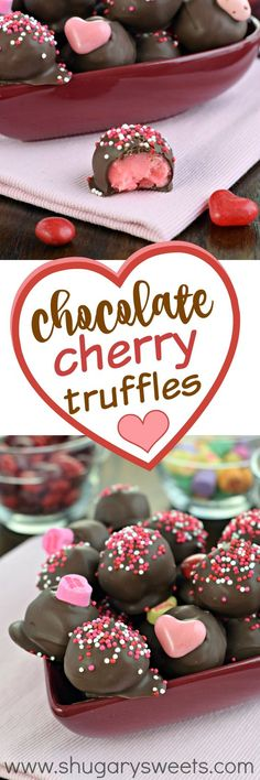 "These sweet Chocolate Covered Cherry Truffles are the perfect way to say ""I love you"" this Valentine's Day! A sweet cherry fudge dipped in chocolate, you'll want to make this recipe any time of year! Valentines Food, Valentine Treats, Diy Truffles, Cake Truffles, Valentine's Day Truffles Recipes, Chocolate Truffle Recipe, Chocolate Covered Truffles Recipe, Chocolate Recipes, White Chocolate Truffles"