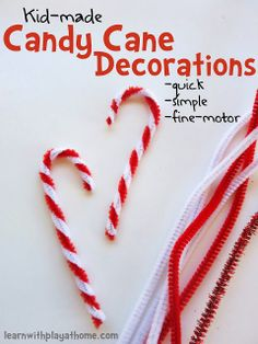 This is an extremely easy and fun candy cane decoration DIY idea. This is a great activity for the kids at the holiday party. | Learn with Play at Home #winter #candy #children
