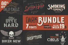 Dark Bundle: 7 Bestseller Fonts by Gleb Guralnyk on @creativemarket