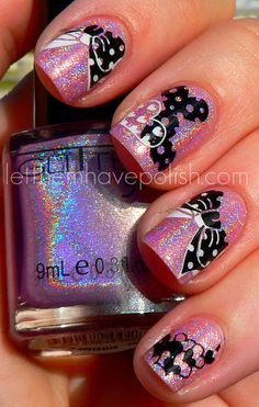 What gets better than a holographic polish combined with Konad!